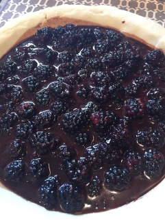 Macerated blackberries in crust