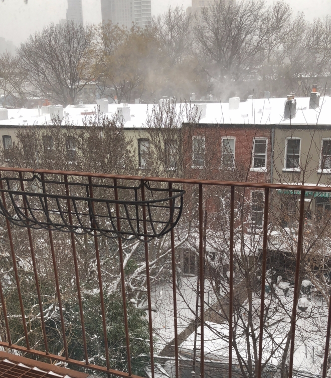 fire escape, snowy rooftop